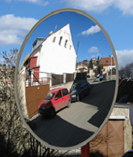 Round observation mirror acrylic for external use and fixingkit for posts