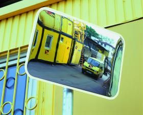 Rectangular observation mirror acrylic for external use and fixingkit for posts