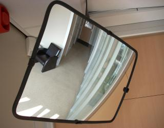 Rectangular convex mirror for internal use